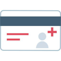 Credit card with user icon and red medical cross